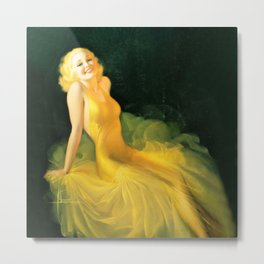 """Pinup by Rolf Armstrong """"The Yellow Gown"""" Metal Print"""