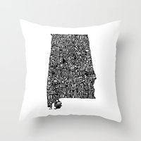 alabama Throw Pillows featuring Typographic Alabama by CAPow!