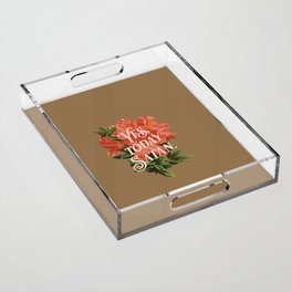 Yes Today Satan - lily flower, blush pink, deep tan colour combo Acrylic Tray