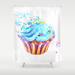 Cupcake watercolor illustration Shower Curtain