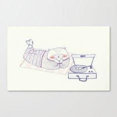 vinyl cat Canvas Print