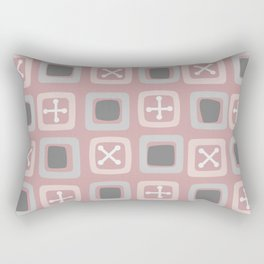 Mid Century Modern Squares Lines Powder Pink Rectangular Pillow