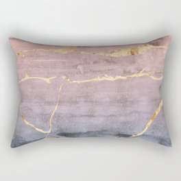 Watercolor Gradient Gold Foil Rectangular Pillow