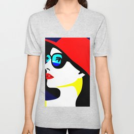 tropical woman Unisex V-Neck