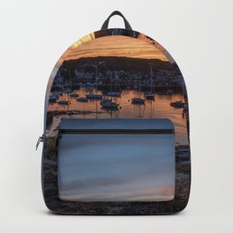 Sunset overlooking Rockport harbor Backpack
