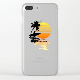 Surfing Sunrise Clear iPhone Case