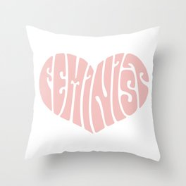 Feminist '70s Typography Heart Throw Pillow