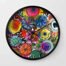happy flowers: in your garden Wall Clock
