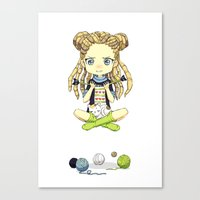 knitting Canvas Prints featuring Knitting Meditation by Freeminds