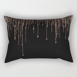 Luxury Black Rose Gold Sparkly Glitter Fringe Rectangular Pillow