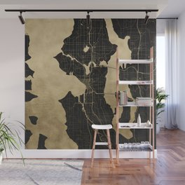 Seattle Black and Gold Map Wall Mural