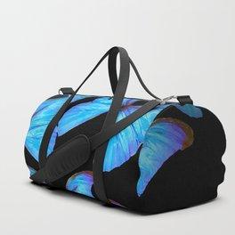 Turquoise Blue Tropical Butterflies Black Background #decor #society6 #buyart Duffle Bag