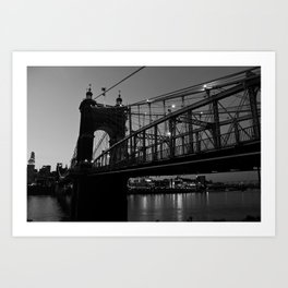 Roebling Bridge B & W Art Print