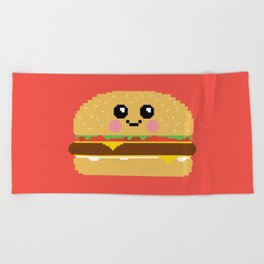 Happy Pixel Hamburger Beach Towel