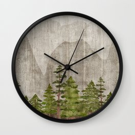 Mountain Range Woodland Forest Wall Clock