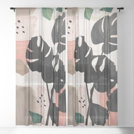 Monstera Summer Glam #2 #tropical #decor #art #society6 Sheer Curtain