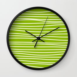 Apple Green & White Maritime Hand Drawn Stripes- Mix & Match with Simplicity of Life Wall Clock