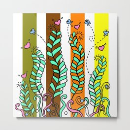 Vines Swaying in the Breeze with Stripes Metal Print