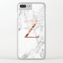 Monogram rose gold marble Z Clear iPhone Case