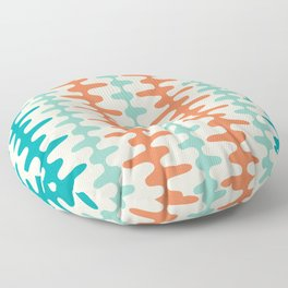 Retro Mid Century Modern Trellis Print Orange and Teal Floor Pillow