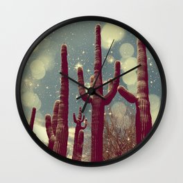 Space Cactus Wall Clock
