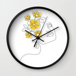 Mustard Bloom Girl Wall Clock
