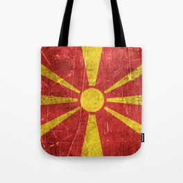 Vintage Aged and Scratched Macedonian Flag Tote Bag