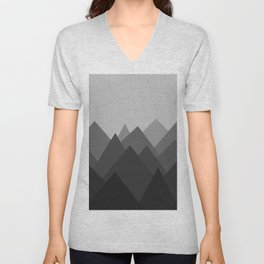Black and White Abstract Mountains Unisex V-Neck