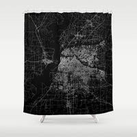 memphis Shower Curtains featuring Memphis map by Line Line Lines