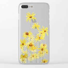 Yellow sunchoke flowers painting Clear iPhone Case