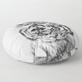 Tiger - Black & White Floor Pillow