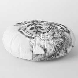 Tiger - Black & White Floor Pillow
