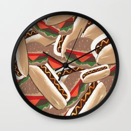 Hot Dogs And Hamburgers Wall Clock