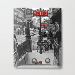 Paris Metro Kiss Metal Print