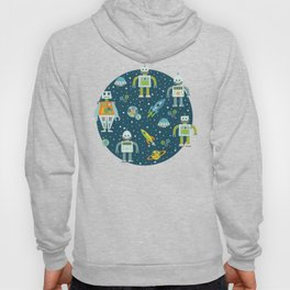 Robots in Space - Blue + Green Hoody
