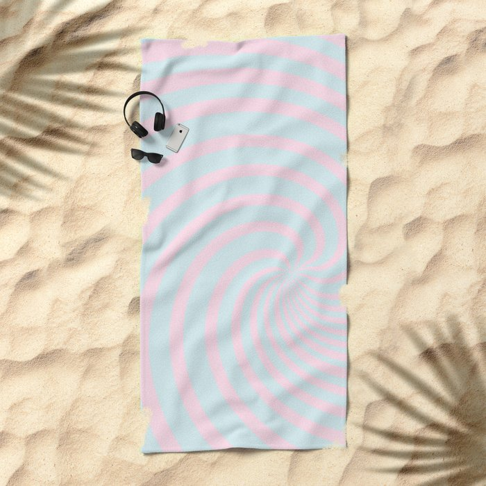 Swirl 60ies in pink and aqua - Circles on #Society6 Beach Towel