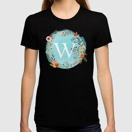 Personalized Monogram Initial Letter W Blue Watercolor Flower Wreath Artwork T-shirt