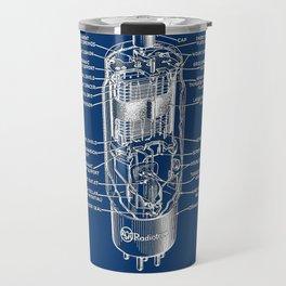 Radio tube vintage electronics on blue back ground diagram Travel Mug
