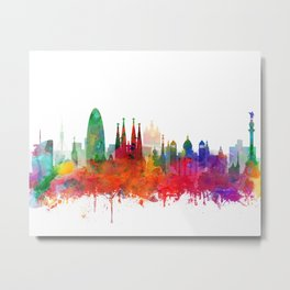Barcelona City Skyline Watercolor by zouzounioart Metal Print