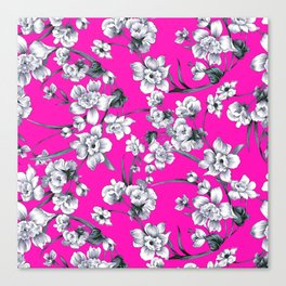 Modern neon pink black white abstract floral Canvas Print