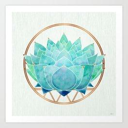 Modern Blue Succulent with Metallic Accents Art Print