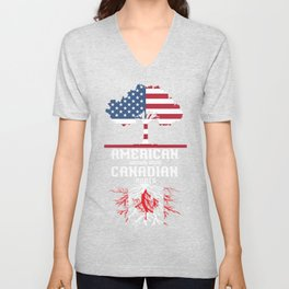 Canada American Grown Canadian Roots Unisex V-Neck