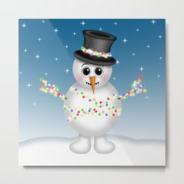 Cute Snowmen with Ornaments, Candy Cane and Strand of Lights Metal Print
