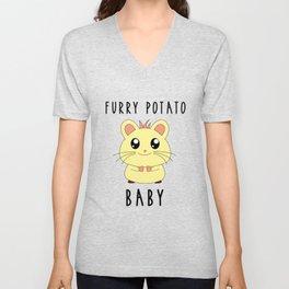 Funny Golden Hamster Pet Furry Potato Baby Gift Design Unisex V-Neck