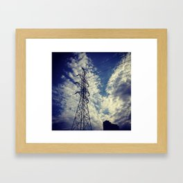Heavenly spring sky in an industrial world Framed Art Print