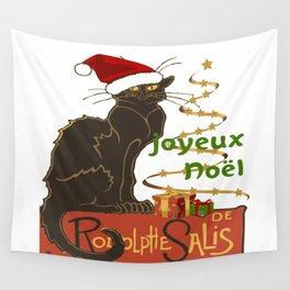 Joyeux Noel Le Chat Noir Christmas Parody Wall Tapestry