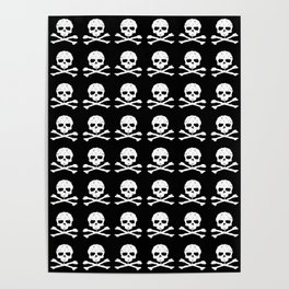 Skull and XBones in Black and White Poster