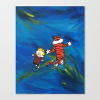 calvin and hobbes Canvas Prints featuring Calvin & Hobbes - Blue by Always Add Color