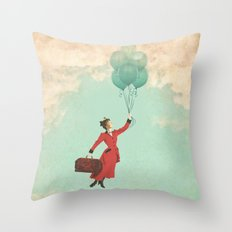 Mary, the secret behind the umbrella Throw Pillow