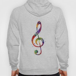 Treble Clef Sign 2 Watercolor Print Music Poster Home Decor Hoody